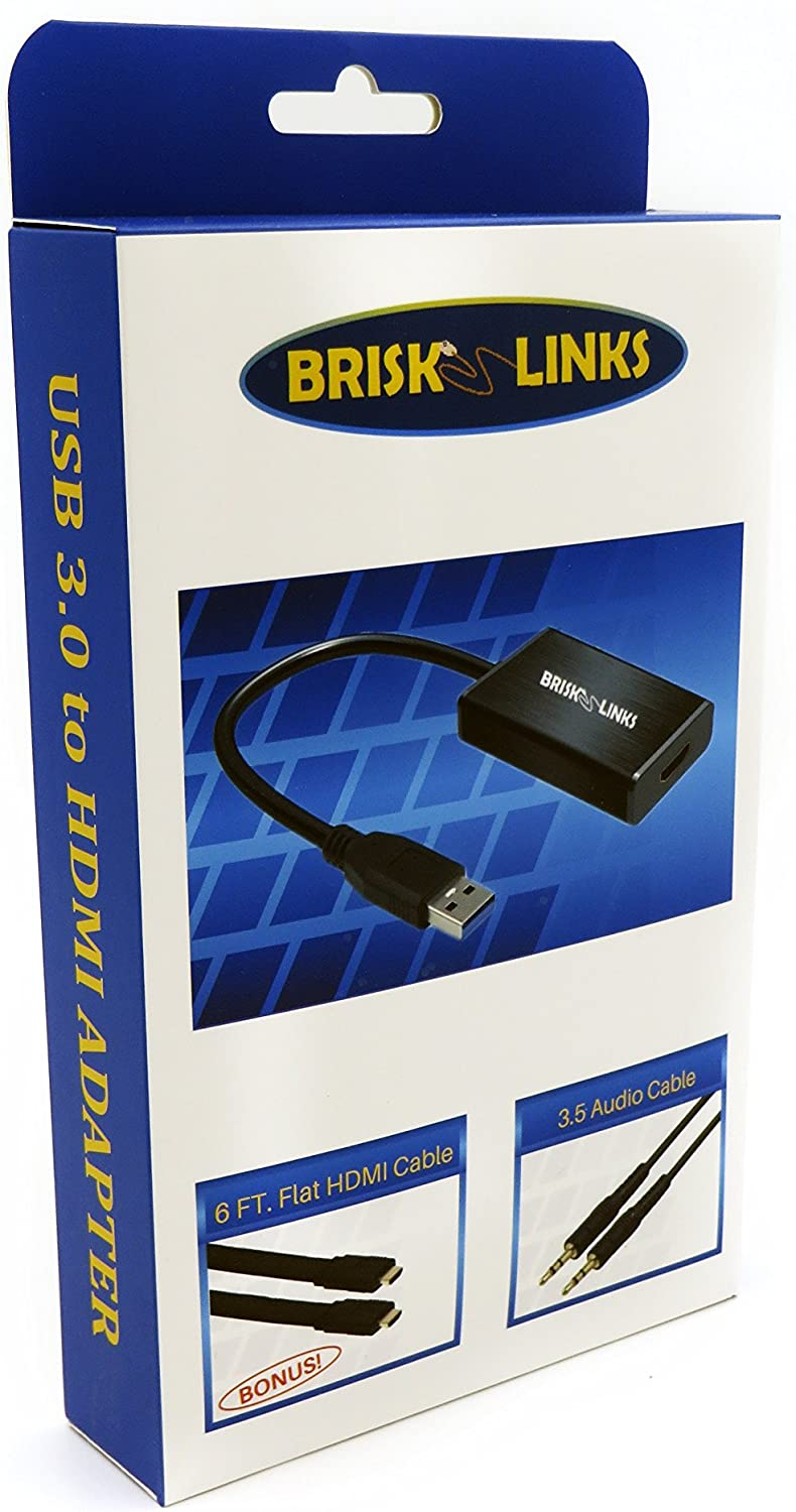 Not Compatible with Mac, Linux Brisk Links USB 3.0 to HDMI Adapter Converter 1080P HD Display with Audio Support Multi Monitor Adapter Includes Bonus High Speed HDMI Cable 6 FT