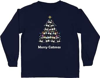 lepni.me Camiseta para Niño/Niña Feliz Navidad de Catmas Meowy Regalo para los Amantes de los Gatos navideños