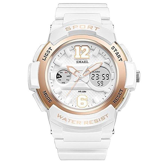 fomtty Blanco Mujer Reloj analógico para mujer niña Digital Reloj de pulsera reloj deportivo impermeable militar