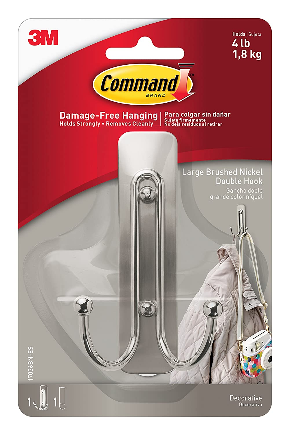 Command 17036MB-EF Matte Black Double Hook, Large, 1 Hook, 1 Strip 3M 17036MB-ES