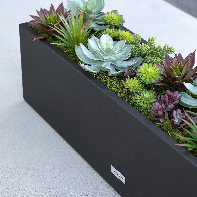 48 in. Black Veradek Metallic Series Window Box Planter
