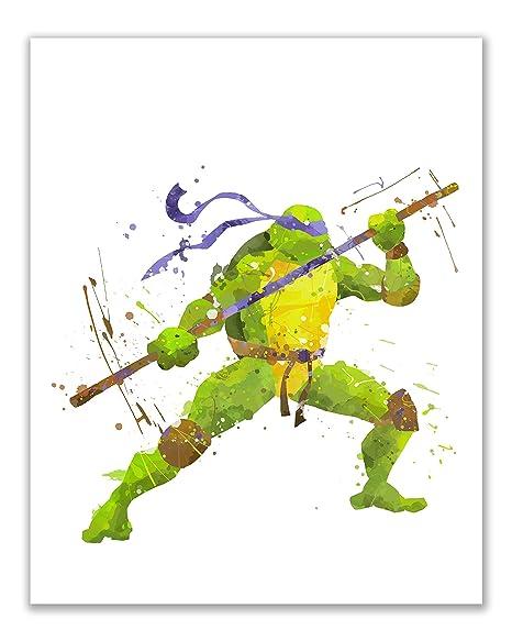 Amazon.com: Las tortugas Ninja acuarela arte de la pared ...