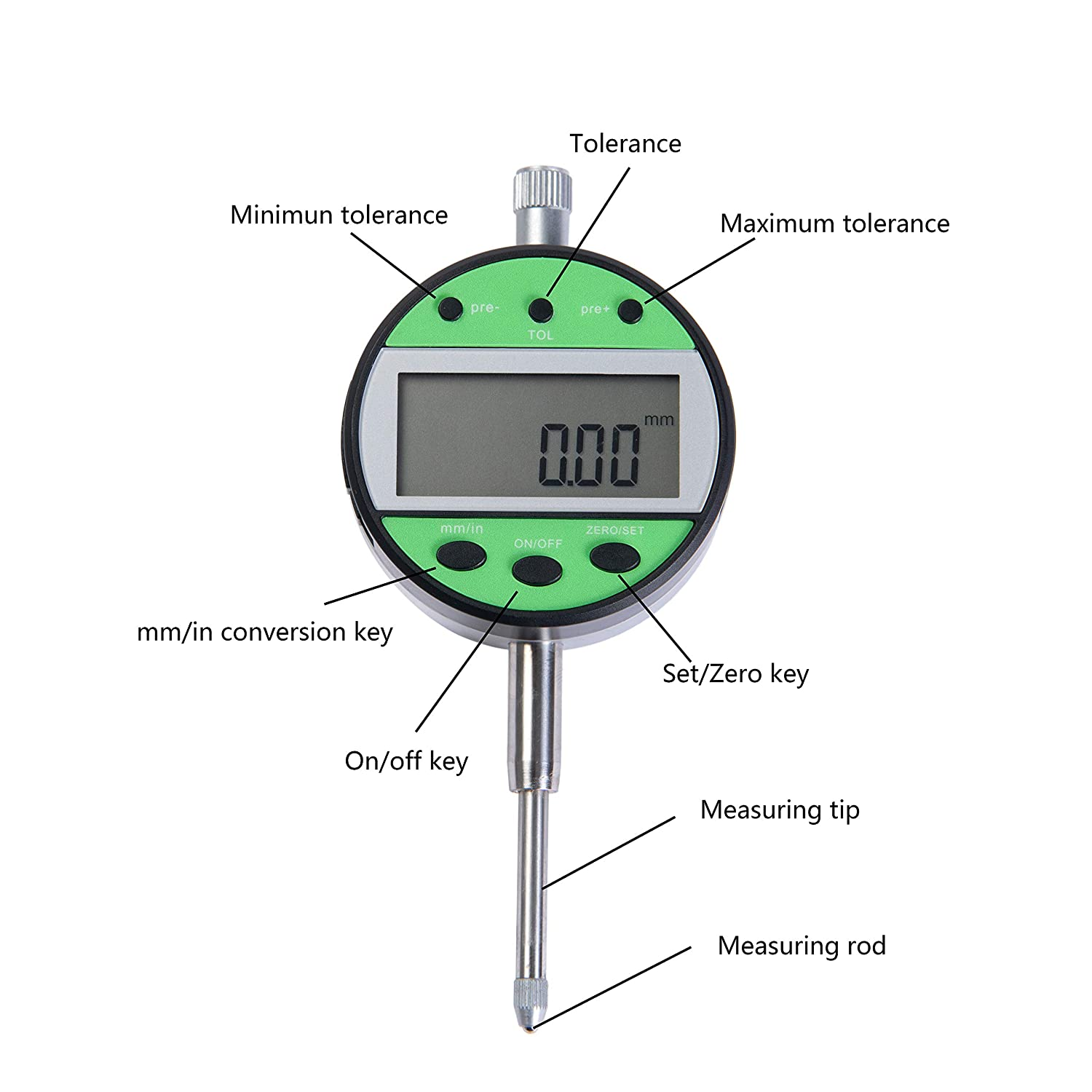 0.03mm Electronic Super Precision Inch//Metric Conversion 0-1 Inch//25.4 mm with LCD Beslands Digital Dial Indicator 1//25.4mm Probe Test High Resolution 0.0005//0.01mm Accuracy