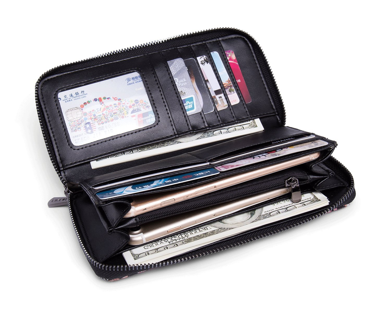 LIKEWE Women Pink Stripe Wallet Zip Around Clutch Wallet Large Travel Purse (FB-TT-168) by LIKEWE (Image #2)