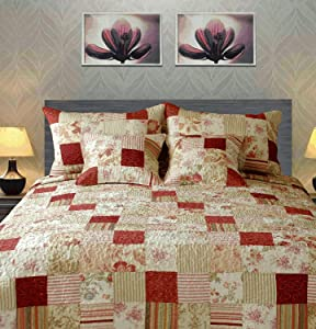 Tache Home Fashion Strawberry Field Coverlet Quilt Set, Queen, Red, Beige, Multi