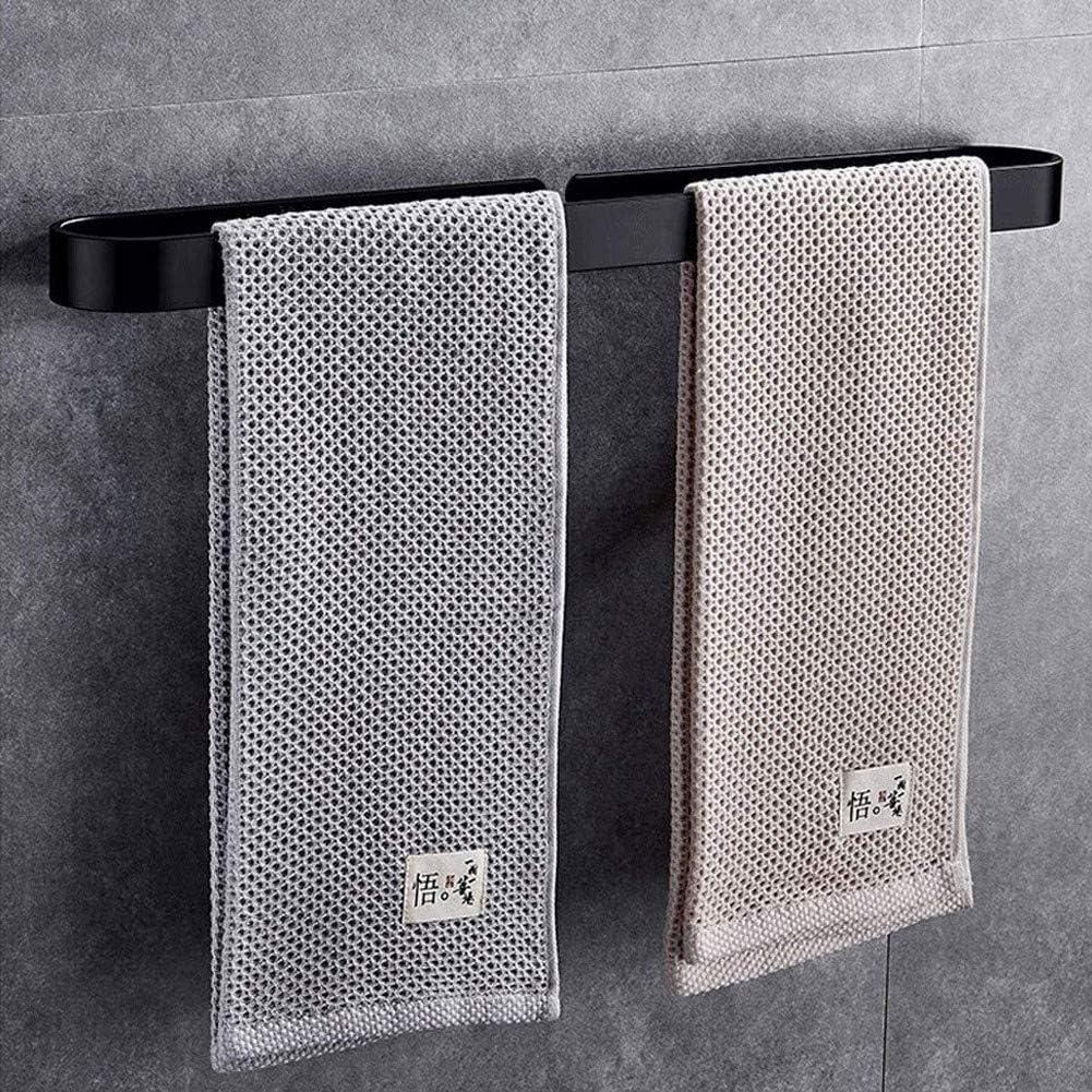 M-TOP Toalleros de Barra Adhesivo para Ba/ño Porta Toallas de Pared de Acero Inoxidable sin Taladro Toallero de Aluminio Toallero Lavabo Negro Organizador para Cocina Ba/ño Lavabo