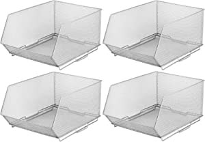 YBM HOME Ybmhome Mesh Stacking Bin Silver Storage Containers Pantry Organizers Great for Food, Crafts, Cleaning or Pantry Items 1613s-4 (4, Large 15x11x8 Inch)