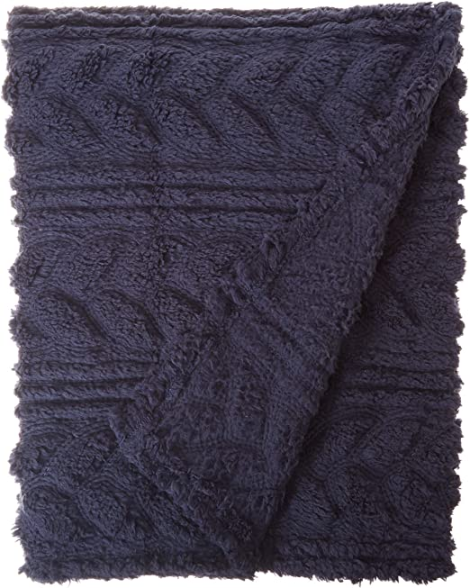 Navy POSH HOME Luxurious Warm Super Soft Embossed Velvet Throw /& Embossed Sherpa Reversible Lightweigh Colorful Throw Blanket Couch Sofa Bed