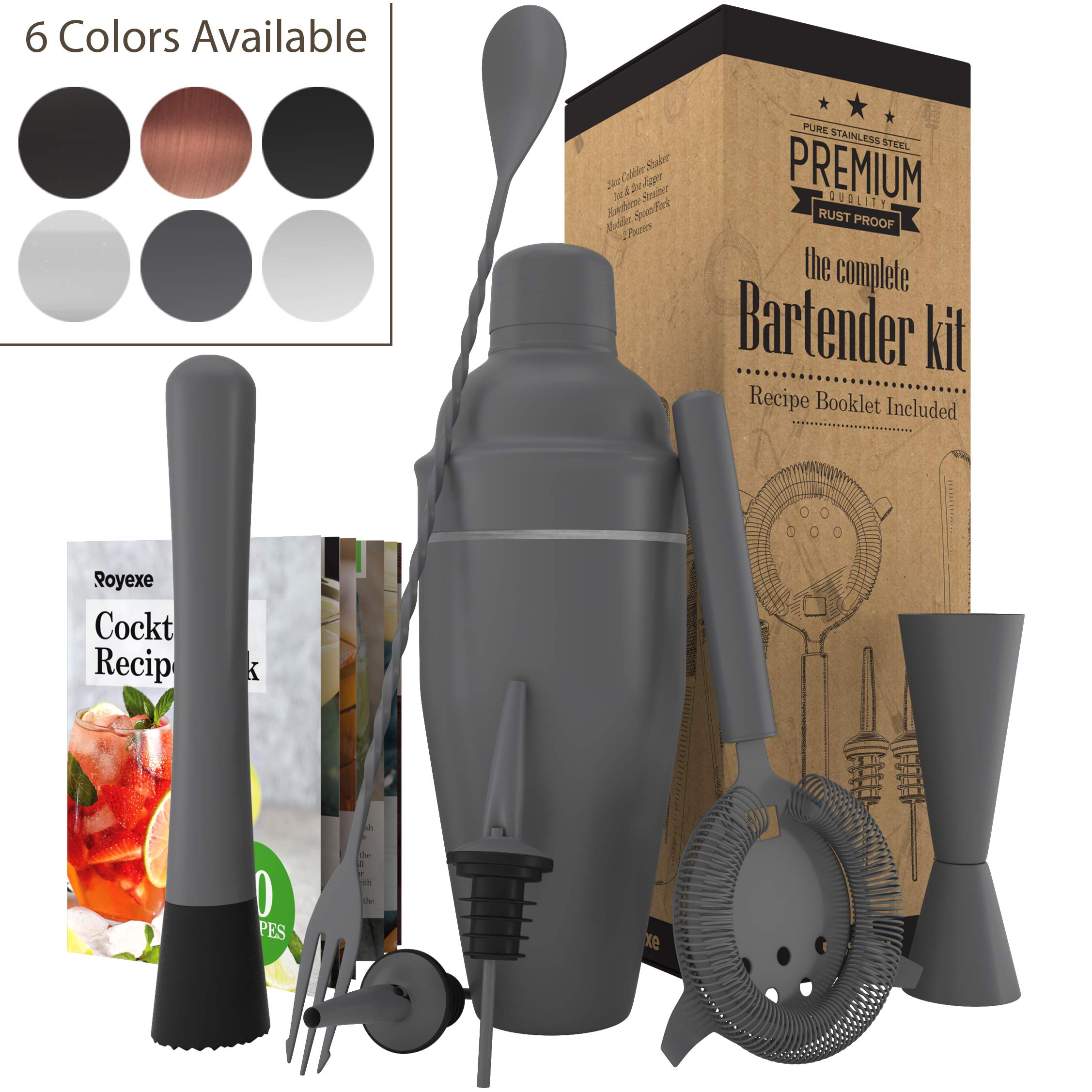 All-inclusive Bar Set   Professional Home Bartender Cocktail Shaker Set   Includes a Recipe Book & All Necessary Bar Tools and Accessories   Impressive Gift for Men! (Matte Grey) by Royexe