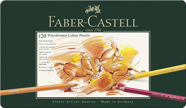 faber castell polychromos artists color pencils tin of 120 colors premium quality artist pencils