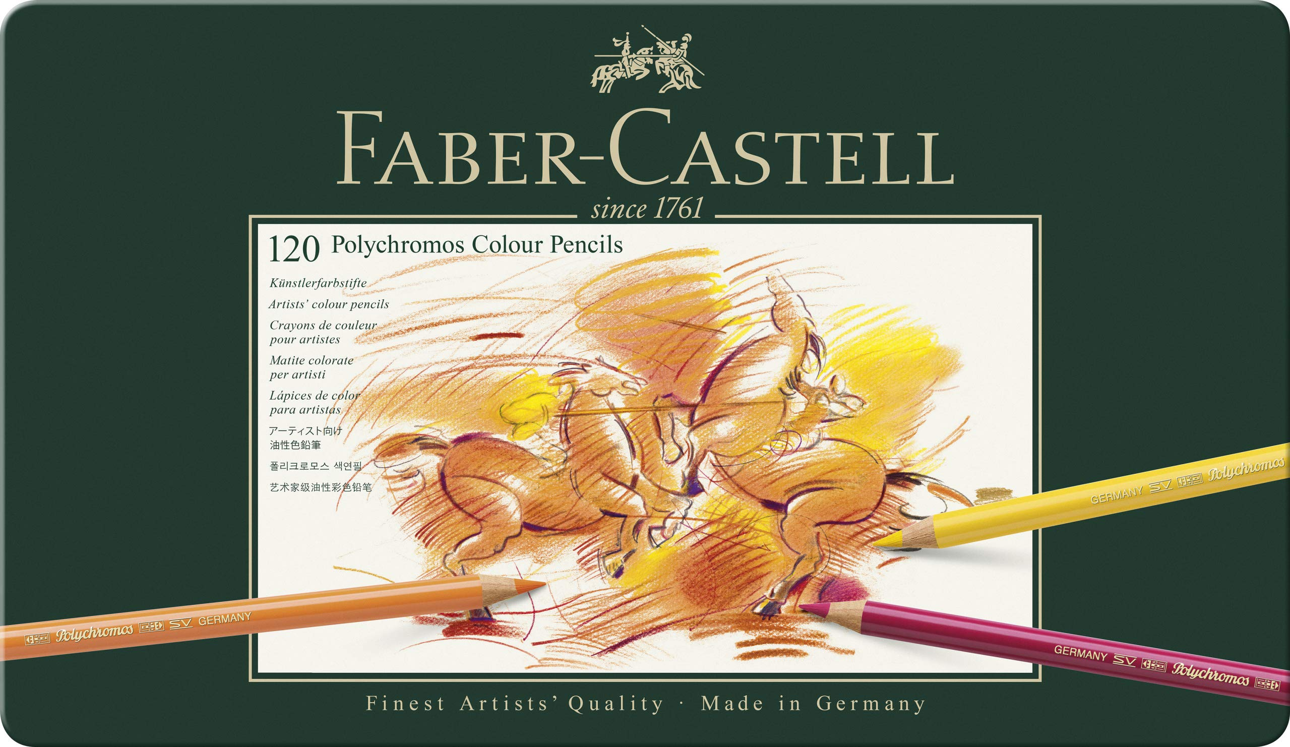 Faber-Castell Polychromos Artists' Color Pencils - Tin of 120 Colors - Premium Quality Artist Pencils by Faber-Castell