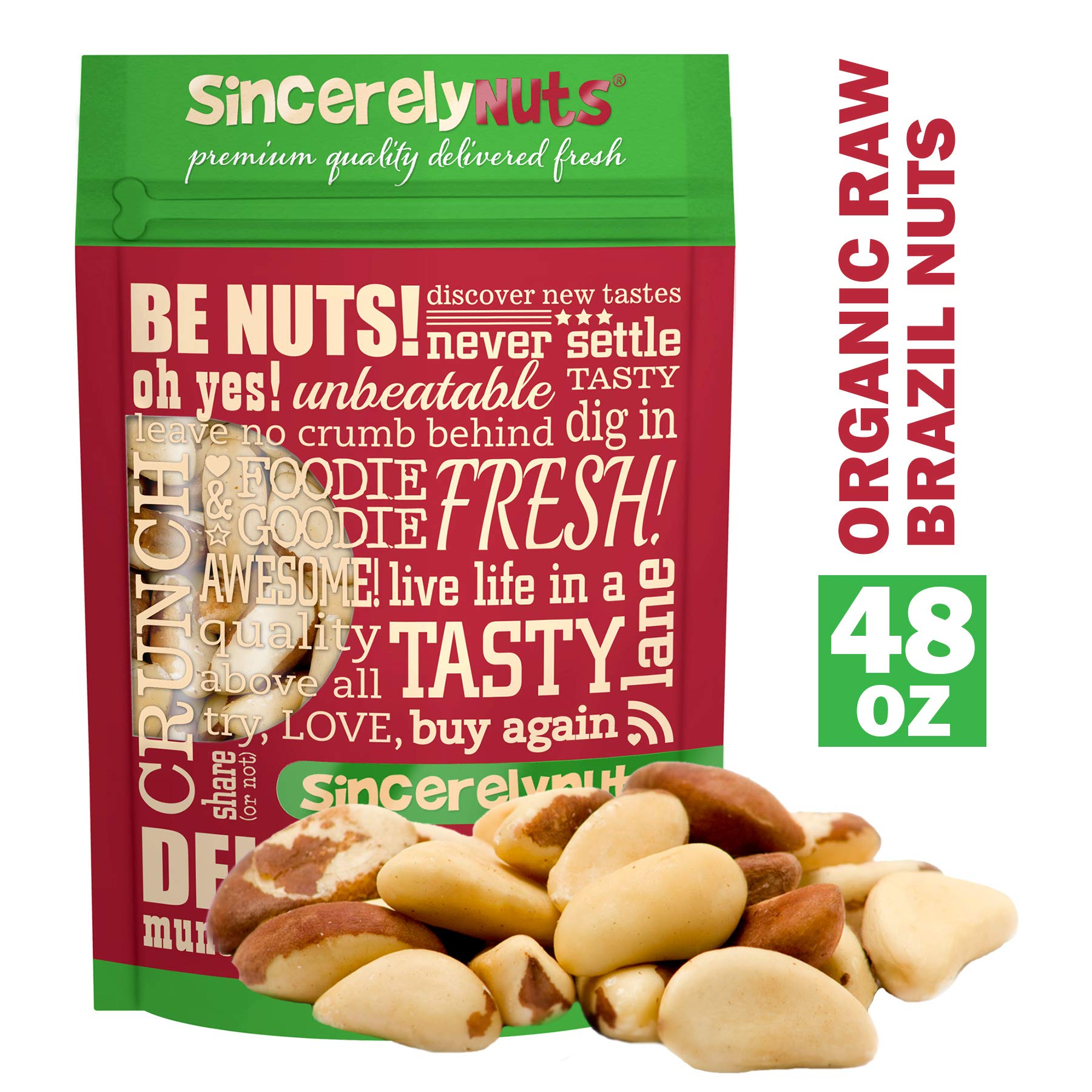 Sincerely Nuts Organic Raw Brazil Nuts No Shell (3 Lb. Bag) -Premium Healthy Snack Food | Whole, Kosher, Vegan, Gluten Free | Keto & Paleo Diet Friendly |Gourmet Snack | Vitamins & Minerals