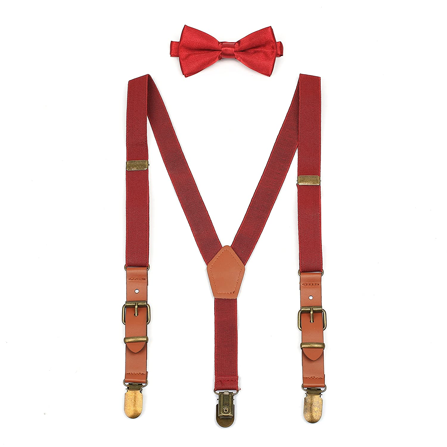 Suspenders & Bowtie Set for Kids and Baby - Y Back Adjustable Strong Clips Synthetic Leather Suspenders 0195Black