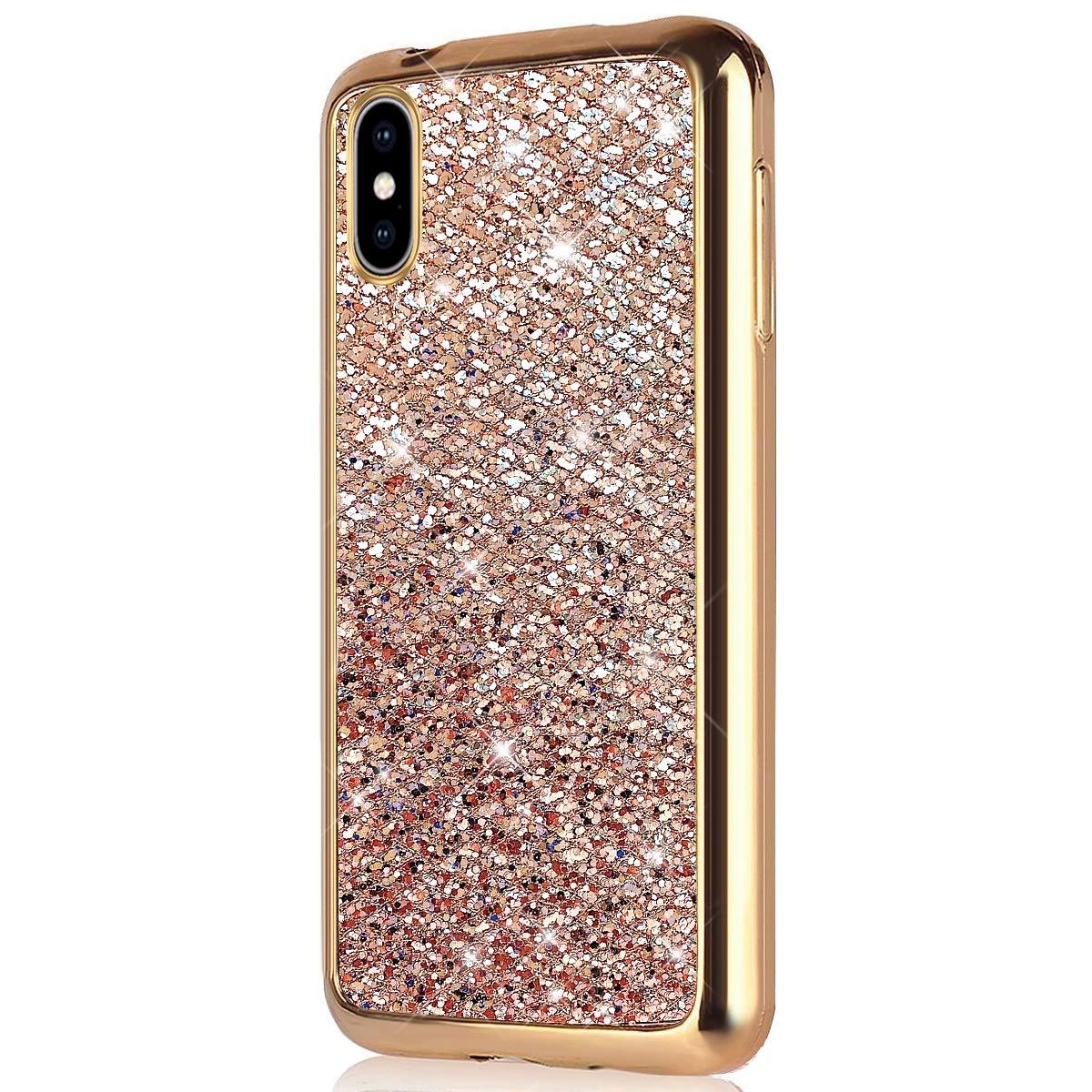 Herbests Compatible avec Coque iPhone XS Max Silicone Paillette Housse Bling Glitter Etui Ultra Mince Case Cover Ultra Fine Soft Gel TPU Caoutchouc Bumper Protection,d'or