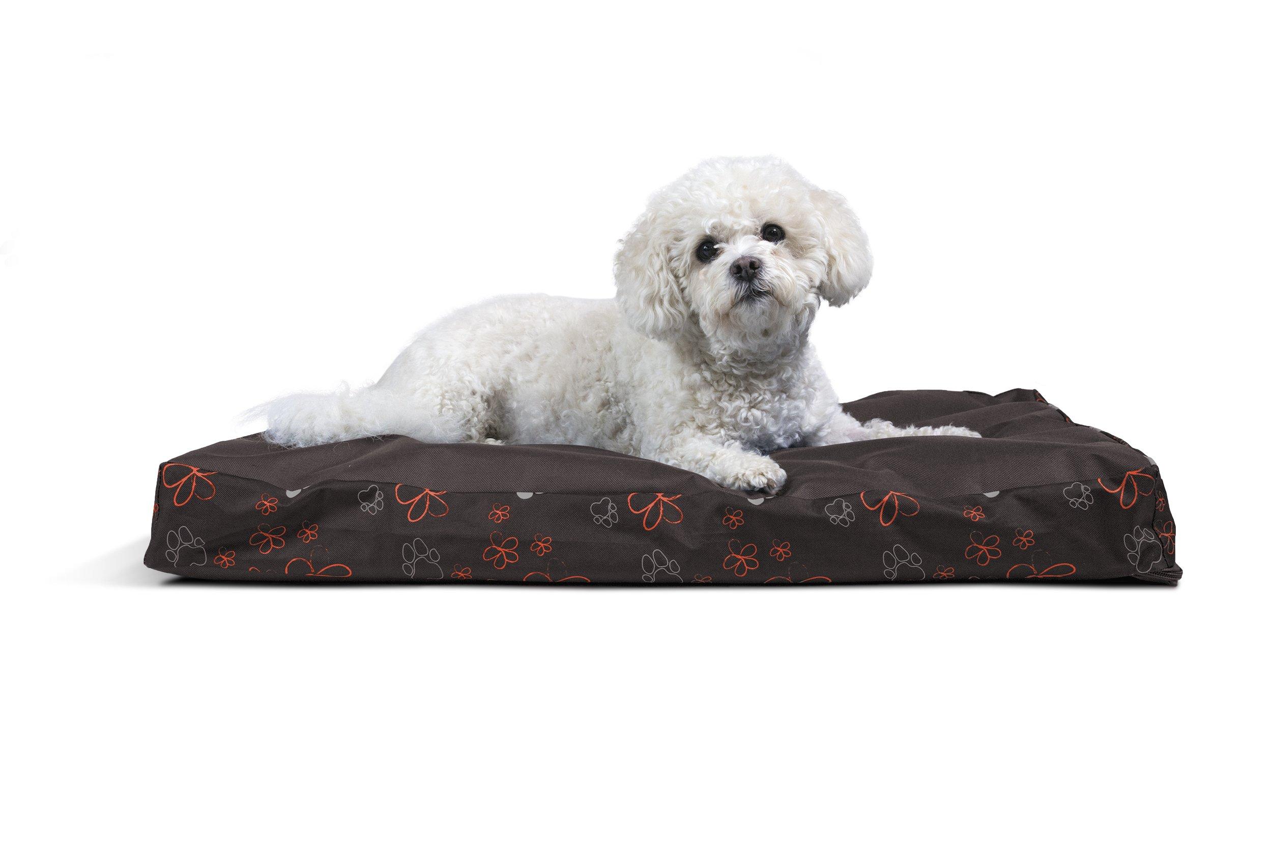 FurHaven Deluxe Memory Foam Indoor/Outdoor Garden Pet Bed for Dogs and Cats, Bark Brown, Medium