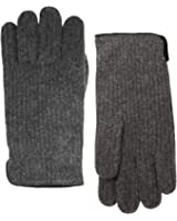 Portolano Men's Cashmere Rib Knit Gloves, Charcoal Gray