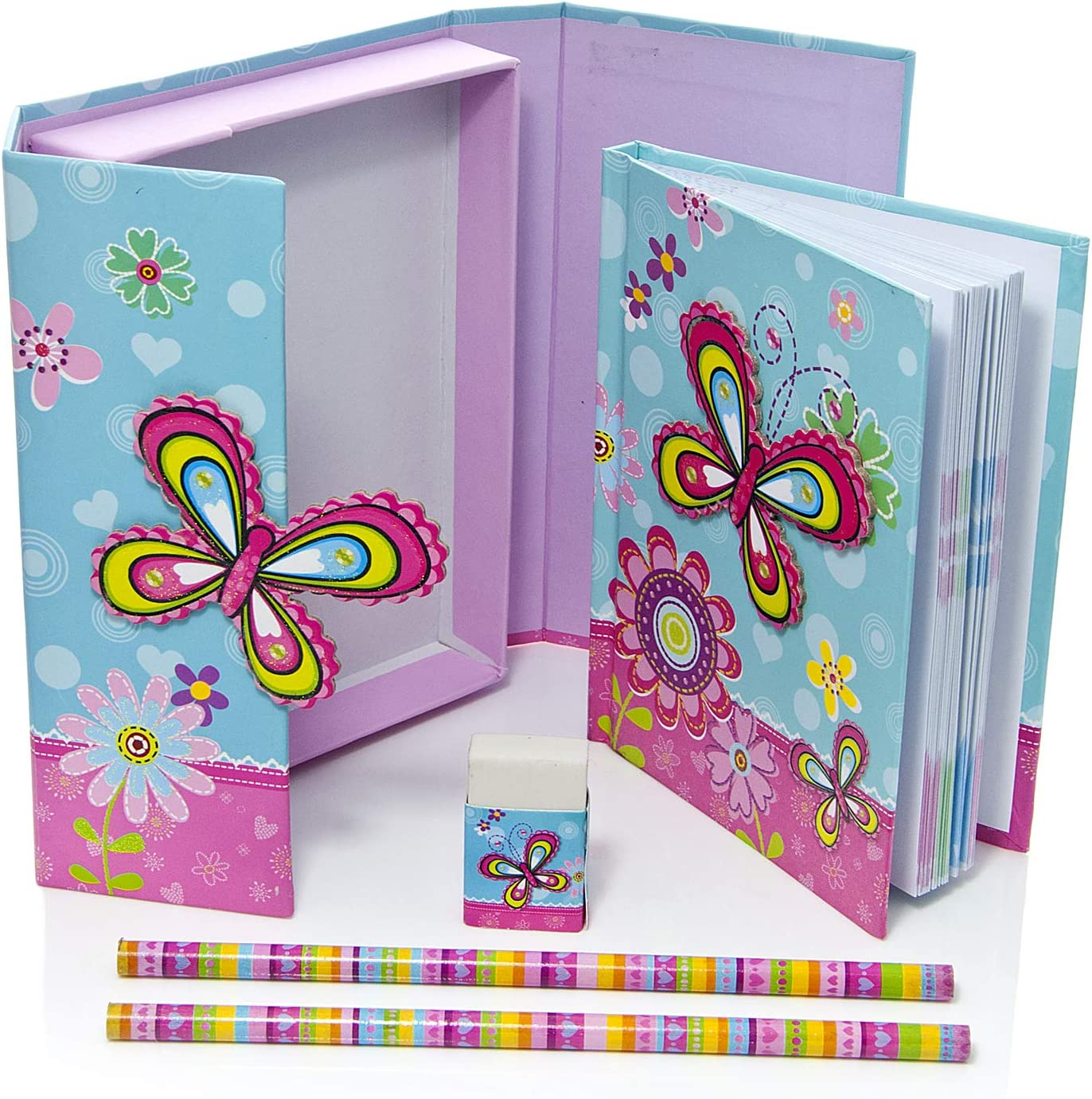 Set con quaderno e scatola rosa con farfalle e cancelleria dimensione media