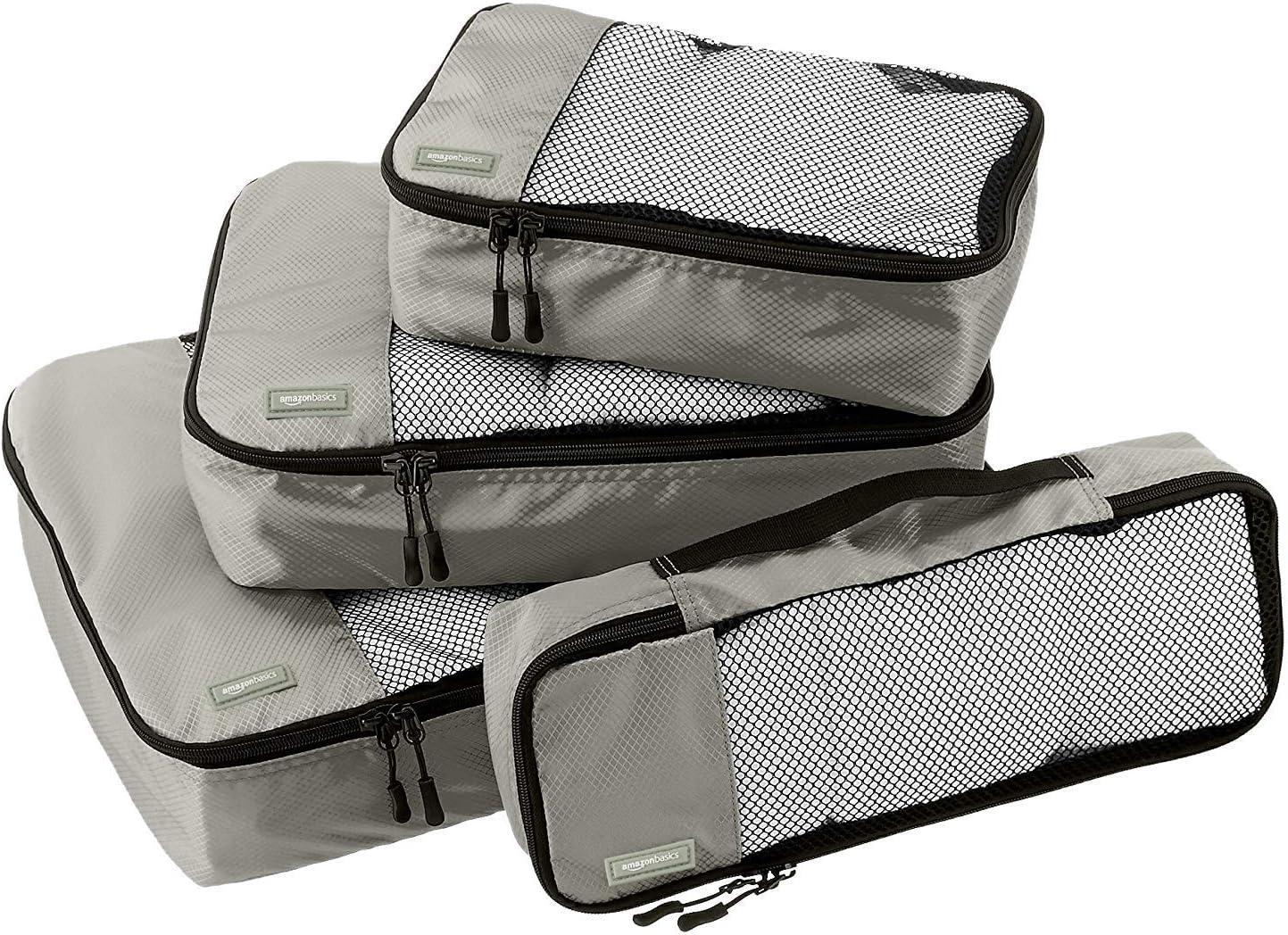 AmazonBasics - Bolsas de equipaje (pequeña, mediana, grande y alargada, 4 unidades), Gris