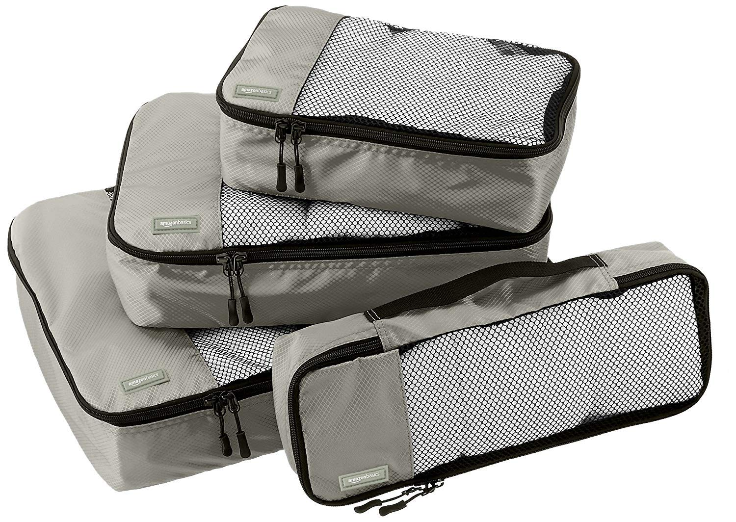 Amazon Basics 4 Piece Packing Travel Organizer Cubes Set, Grey