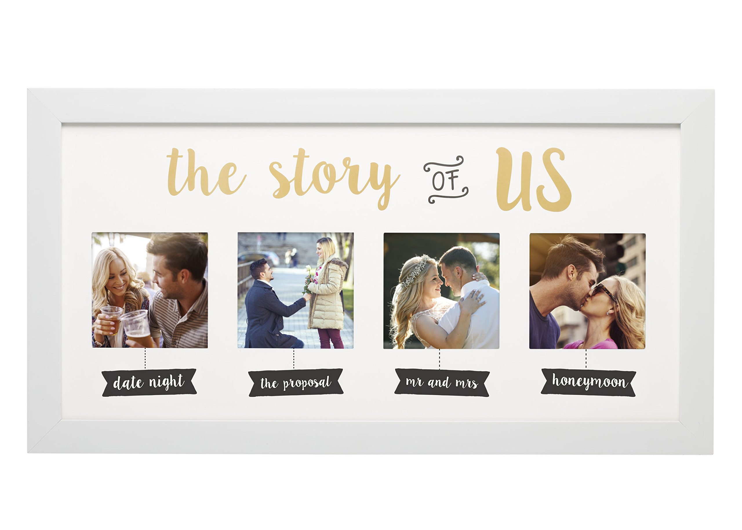 Kate & Milo 'The Story of Us' Photo Frame, White, Cherish Your Love Story, The Perfect Bridal Shower Gift by Kate & Milo