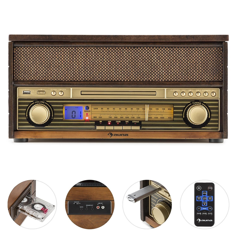 auna Belle Epoque 1910 Equipo est/éreo con Tocadiscos /• Bluetooth /• Reproductor de CD /• Radio FM /• USB /• Grabadora /• 2 Altavoces de 5 W de Potencia Media /• Marr/ón