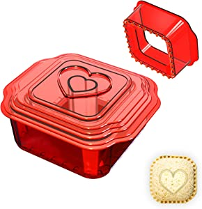 YICOCHI 6 Pcs Sandwich Cutter and Sealer, Square Uncrustbles Maker, Decruster Sandwich Maker for Kids, Red