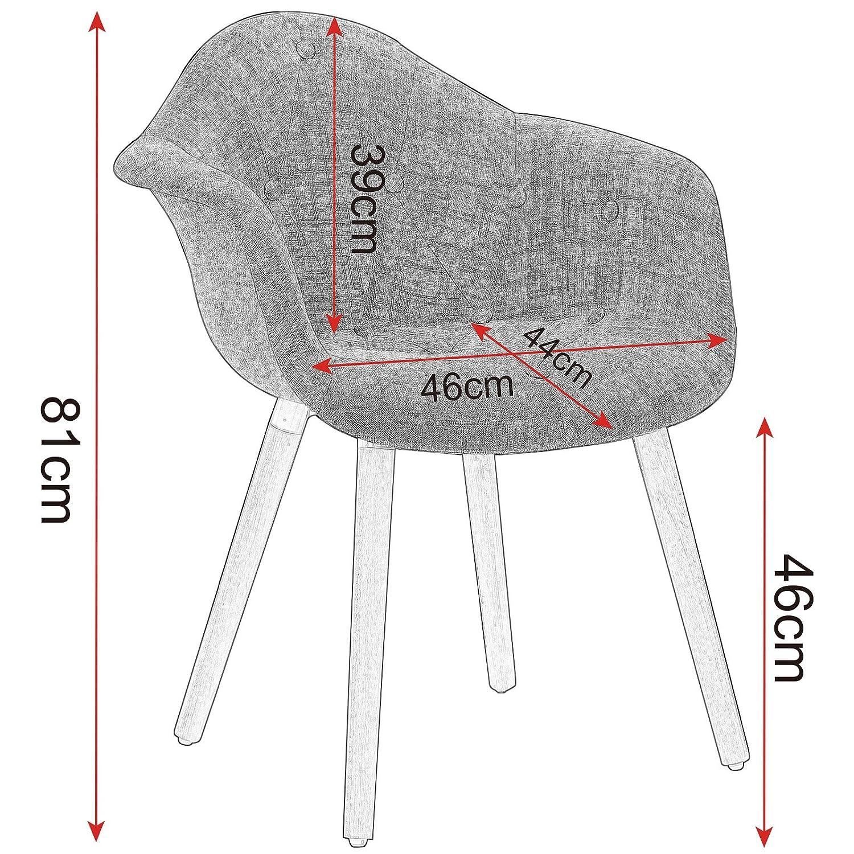 SITU SDC0032 2X 2X 2X Esszimmerstühle Wohnzimmerstuhl Schwingerstuhl mit Arm-Rücklehne Leinen Massivholz Grau 826b57