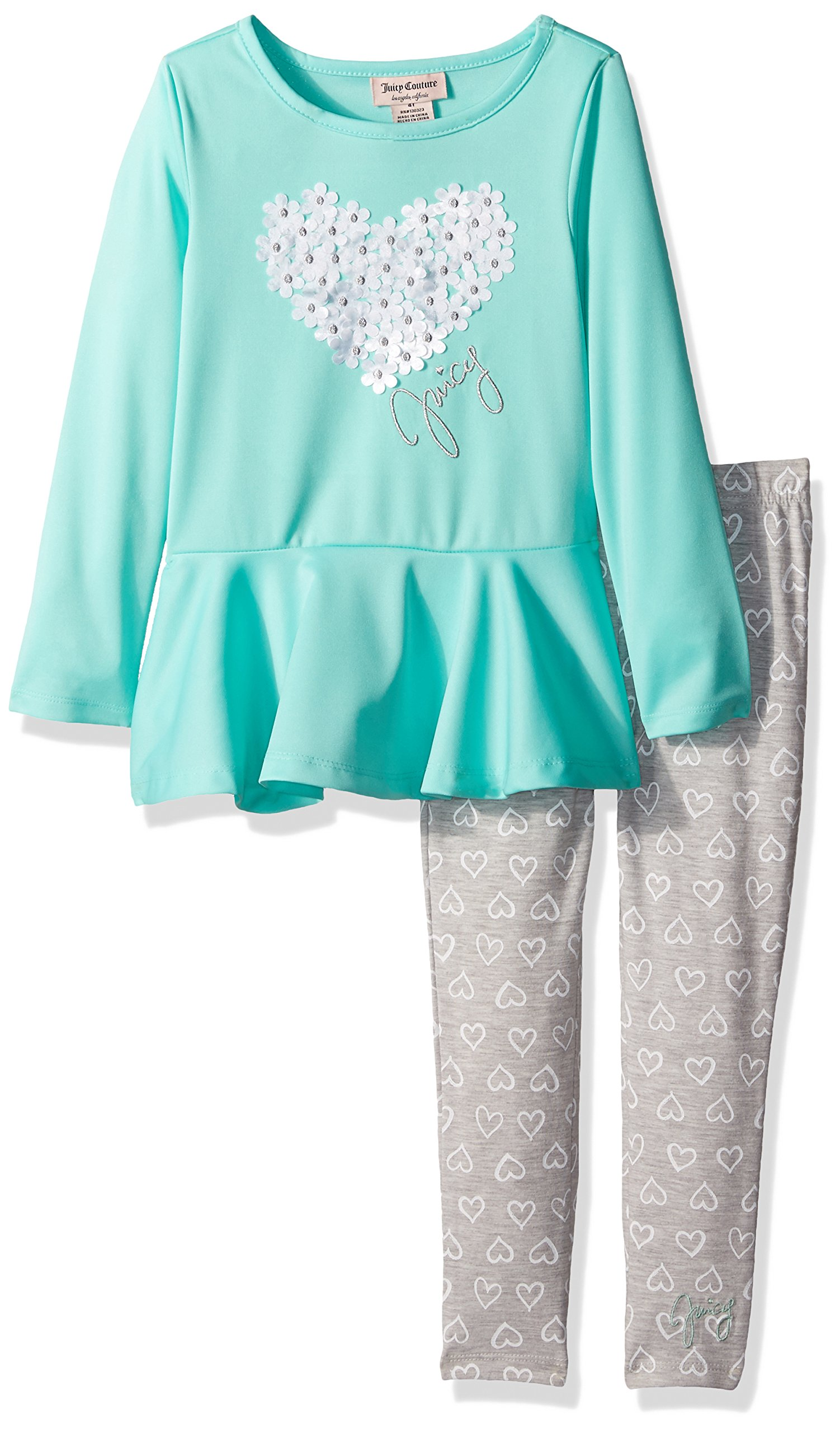 Juicy Couture Little Girls' Toddler 2 Piece Pant Set, Green, 3T
