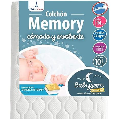 Babysom - Colchón Cuna Memory - 60 x 120 cm - Viscoelástico - Térmico - Altura