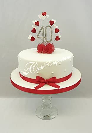 CAKE DECORATION RUBY 40th WEDDING ANNIVERSARY DIAMANTE TOPPER HEART BURST WITH MATCHING RIBBON PACK