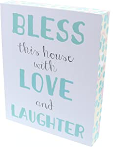 "Barnyard Designs Bless This House with Love and Laughter Wooden Box Wall Art Sign, Primitive Country Farmhouse Home Decor Sign with Sayings 10"" x 8"""