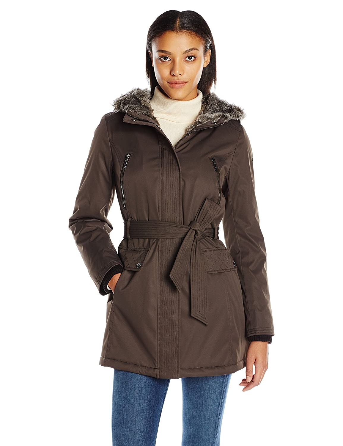 Kensie Women's Polyester-Filled Belted Parka Kensie Women's Outerwear J9601