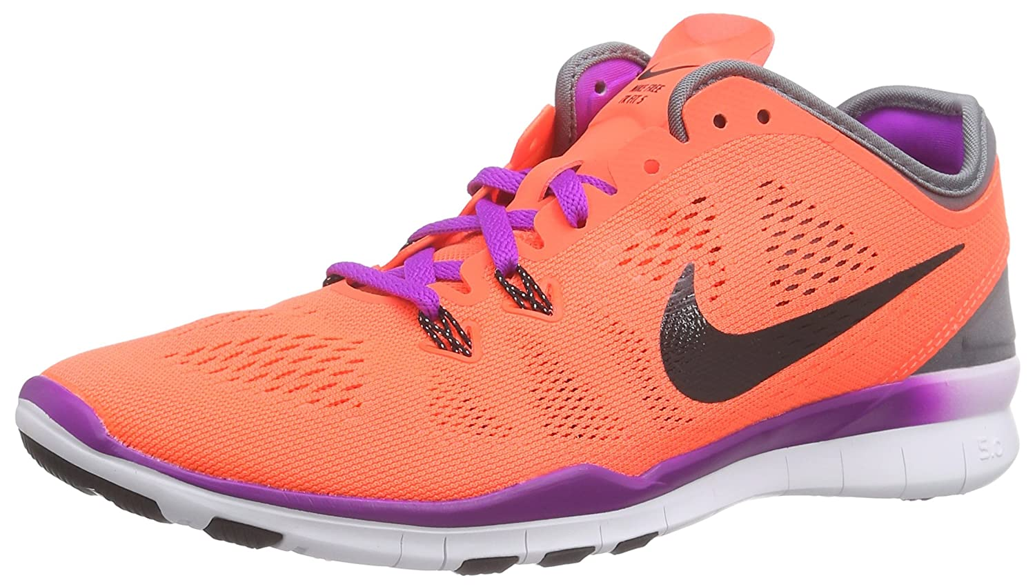 NIKE Men's Free 5.0 Tr Fit 5 Fabric Running Shoe B00VIRWXN6 7 B(M) US|Hyper Orange/Grey/Vivid Purple/Black