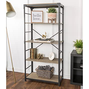 WE Furniture Angle Iron Bookshelf In Driftwood