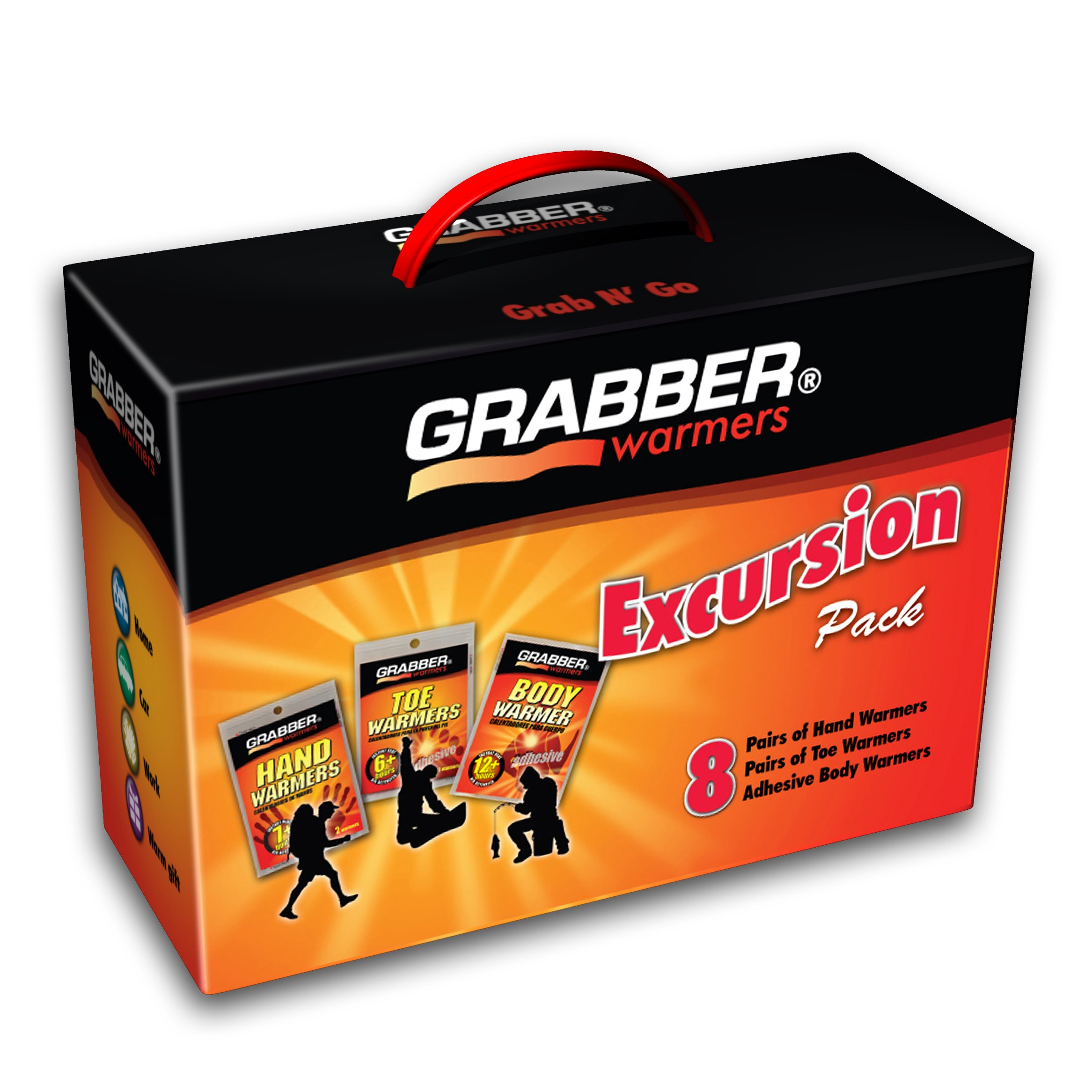 Grabber Warmers Grabber Excursion Multi-Pack Warmer Box, 8 Pair Hand, 8 Pair Toe, 8 Peel N' Stick Body Warmers, 24-Count