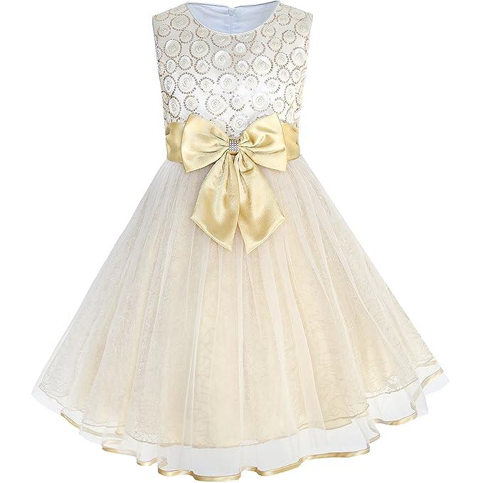 KF91 Sunny Fashion Vestido para niña Flor Bow Corbata champán Lentejuela Boda Pageant 2-3