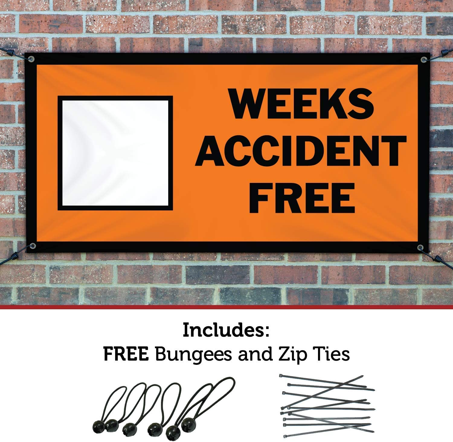 HALF PRICE BANNERS|Blank Weeks Accident Free Vinyl Banner-Indoor//Outdoor 4X12 Foot-Orange|Includes Ball Bungees /& Zip Ties|Easy Hang Sign-Made in USA