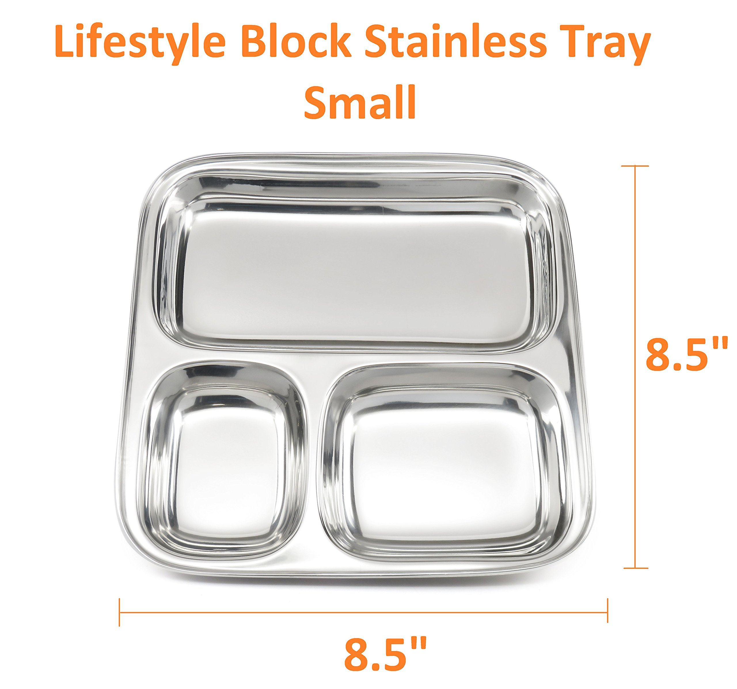 Lifestyle Block Stainless Steel Plastic-Free 3 Compartment Stainless Steel Kid's Plate – Small Divided Kid Plate by Lifestyle Block (Image #3)