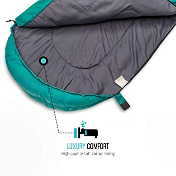 Endor Forest Saco de Dormir en forma de Sobre - Tamaño Individual 3-4 Estaciones - Apto para Adultos y Niños, Camping y Exterior - Ligero, ...