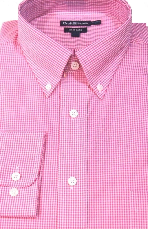 Croft Barrow Mens Classic Fit Gingham Casual Dress Shirt Pink