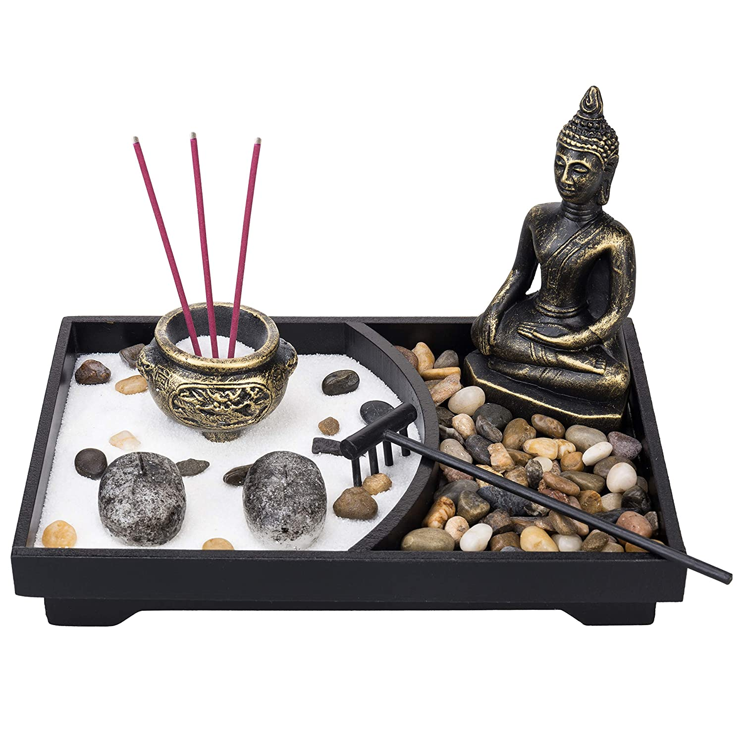 MyGift Buddha Statue Tabletop Zen Garden Kit with Incense Burner