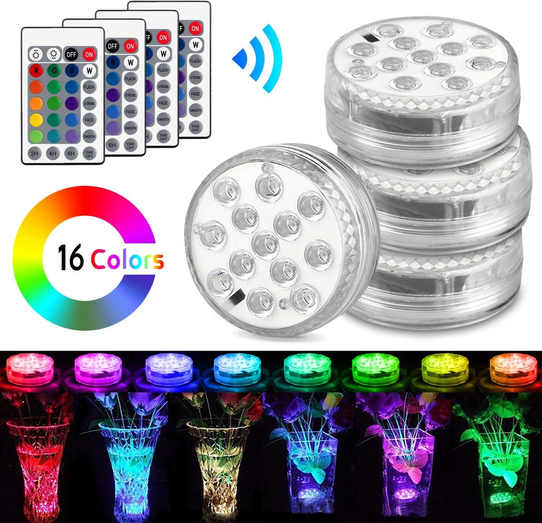 Luces Sumergibles, AODOOR Luz LED Impermeable, RGB Multicolores LED Luz Sumergible con Mando a Distancia para Decoración Acuario, Estanque, Jarrón, Bodas, Fiesta Jardín, Navidad, Piscina - 4 Piezas