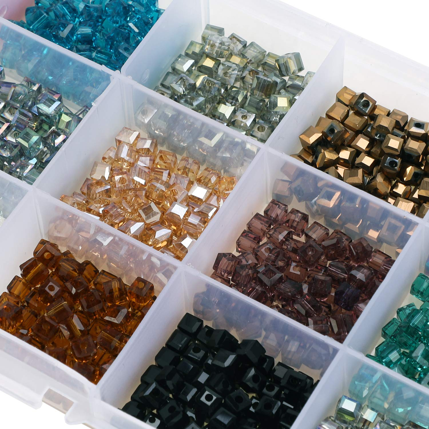 4 mm Rondelle Shape para DIY Crafting 15 Colores Crystal Square Spacer Beads Phogary 1200 unids Cube Glass Beads