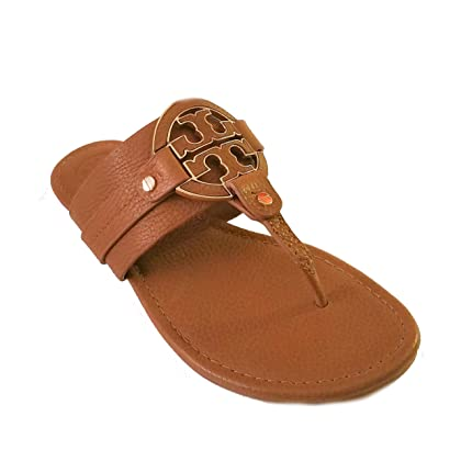 b3c5433bd0416 Tory Burch Amanda Flat Thong Tumbled Leather Sandal Flip Flop TB Logo Royal  TAN Beige (8)
