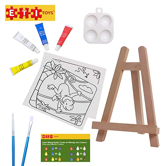 ETI Toys | 11 Piece Kids Art Painting Set with Wood Easel, 2 Wild Animals Themed Canvases, 4 Color Acrylic Paints, 2 Paint Brushes, Palette! Arts ...