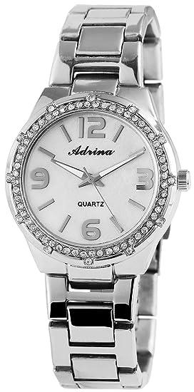 Reloj mujer Blanco Plata Números Arábigos Analog brillantes metal Reloj de pulsera