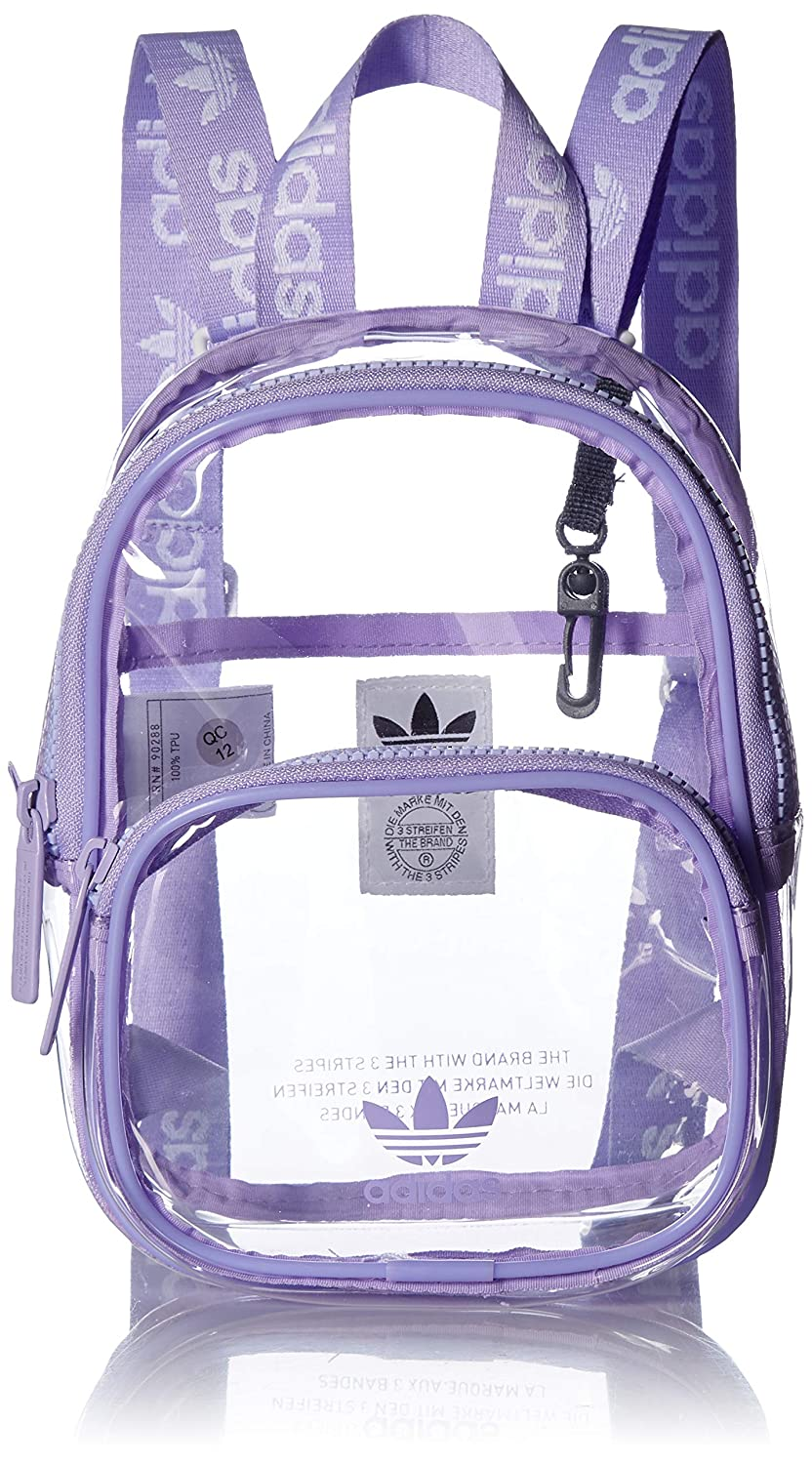 adidas Originals Unisex Clear Mini Backpack, Glow Purple, ONE SIZE