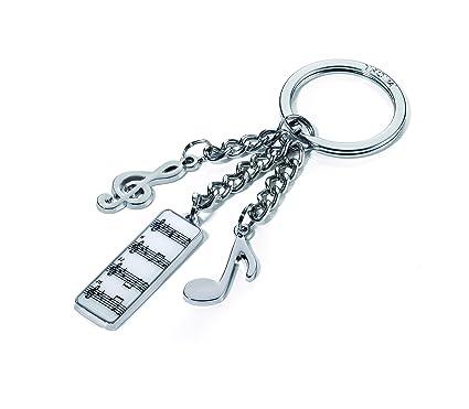 Llavero Música, con 3 dijes: nota musical, clave de sol, sinfonía, metal fundido