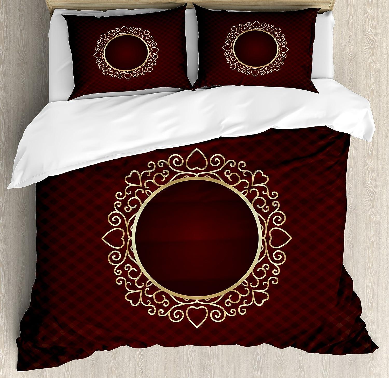 Amazon Com Lunarable Burgundy Duvet Cover Set Queen Size Vintage