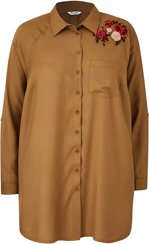 Womens Oversized Shirt With Embroidery Simply Be
